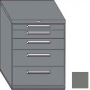 """Equipto 45""""W Modular Cabinet 38""""H 5 Drawers w/Dividers, Keyed Alike Lock-Smooth Office Gray"""