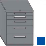 "Equipto 45""W Modular Cabinet 38""H 5 Drawers No Divider, Keyed Alike Lock-Textured Regal Blue"