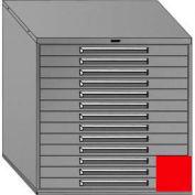 "Equipto 45""W Modular Cabinet 44""H, 13 Drawers No Divider, Keyed Alike Lock-Textured Cherry Red"