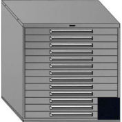 """Equipto 45""""Wx44""""H Modular Cabinet 13 Drawers w/Dividers, & Lock-Textured Black"""