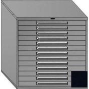 "Equipto 45""Wx44""H Modular Cabinet 13 Drawers w/Dividers, Keyed Alike Lock-Textured Black"