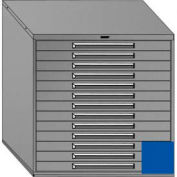 "Equipto 45""Wx44""H Modular Cabinet 13 Drawers w/Dividers, Keyed Alike Lock-Textured Regal Blue"