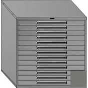 "Equipto 45""Wx44""H Modular Cabinet 13 Drawers w/Dividers, Keyed Alike Lock-Smooth Office Gray"