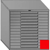"""Equipto 45""""Wx44""""H Modular Cabinet 13 Drawers w/Dividers, Keyed Alike Lock-Textured Cherry Red"""