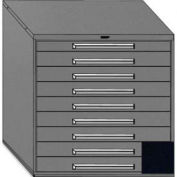 "Equipto 45""W Modular Cabinet 44""H, 9 Drawers w/Dividers, & Lock-Textured Black"
