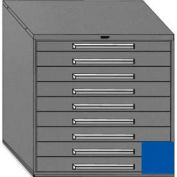 """Equipto 45""""W Modular Cabinet 44""""H, 9 Drawers w/Dividers, & Lock-Textured Regal Blue"""