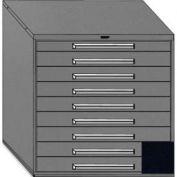 "Equipto 45""W Modular Cabinet 44""H, 9 Drawers w/Dividers, Keyed Alike Lock-Textured Black"