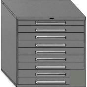 """Equipto 45""""W Modular Cabinet 44""""H, 9 Drawers w/Dividers, Keyed Alike Lock-Smooth Office Gray"""