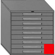 """Equipto 45""""W Modular Cabinet 44""""H, 9 Drawers w/Dividers, Keyed Alike Lock-Textured Cherry Red"""