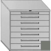 """Equipto 45""""W Modular Cabinet 44""""H, 7 Drawers No Divider, Keyed Alike Lock-Smooth Office Gray"""