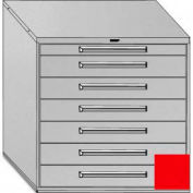 "Equipto 45""W Modular Cabinet 44""H, 7 Drawers No Divider, Keyed Alike Lock-Textured Cherry Red"