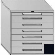 "Equipto 45""W Modular Cabinet 44""H, 7 Drawers w/Dividers, Keyed Alike Lock-Textured Black"