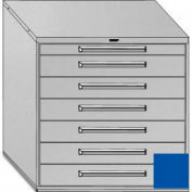 "Equipto 45""W Modular Cabinet 44""H, 7 Drawers w/Dividers, Keyed Alike Lock-Textured Regal Blue"