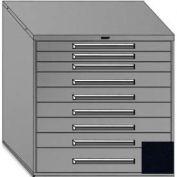 "Equipto 45""Wx44""H Modular Cabinet 9 Drawers No Divider, & Lock-Textured Black"