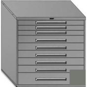 """Equipto 45""""Wx44""""H Modular Cabinet 9 Drawers No Divider, Keyed Alike Lock-Smooth Office Gray"""