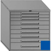 "Equipto 45""Wx44""H Modular Cabinet 9 Drawers w/Dividers, & Lock-Textured Regal Blue"