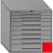 """Equipto 45""""Wx44""""H Modular Cabinet 9 Drawers w/Dividers, No Lock-Textured Cherry Red"""