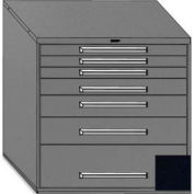 "Equipto 45""Wx44""H Modular Cabinet 7 Drawers No Divider, & Lock-Textured Black"