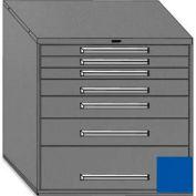 "Equipto 45""Wx44""H Modular Cabinet 7 Drawers No Divider, Keyed Alike Lock-Textured Regal Blue"