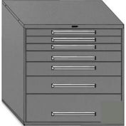 "Equipto 45""Wx44""H Modular Cabinet 7 Drawers w/Dividers, & Lock-Smooth Office Gray"
