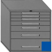 "Equipto 45""Wx44""H Modular Cabinet 7 Drawers w/Dividers, Keyed Alike Lock-Textured Regal Blue"