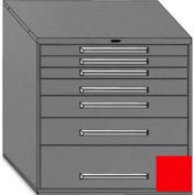 "Equipto 45""Wx44""H Modular Cabinet 7 Drawers w/Dividers, Keyed Alike Lock-Textured Cherry Red"