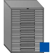 "Equipto 45""W Modular Cabinet 18 Drawers w/Dividers, 59""H & Lock-Textured Regal Blue"