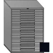 "Equipto 45""W Modular Cabinet 18 Drawers w/Dividers, 59""H, Keyed Alike Lock-Textured Black"