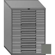 "Equipto 45""W Modular Cabinet 18 Drawers w/Dividers, 59""H, Keyed Alike Lock-Smooth Office Gray"