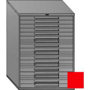 "Equipto 45""W Modular Cabinet 18 Drawers w/Dividers, 59""H, Keyed Alike Lock-Textured Cherry Red"