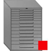 "Equipto 45""W Modular Cabinet 13 Drawers w/Dividers, 59""H & Lock-Textured Cherry Red"