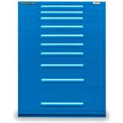 "Equipto 45""W Modular Cabinet 10 Drawers No Divider, 59""H, Keyed Alike Lock-Textured Regal Blue"