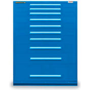 "Equipto 45""W Modular Cabinet 10 Drawers w/Dividers, 59""H, Keyed Alike Lock-Textured Regal Blue"