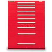 """Equipto 45""""W Modular Cabinet 10 Drawers w/Dividers, 59""""H, No Lock-Textured Cherry Red"""