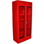 Equipto Quick View Cabinet 36 x 18 x 42, Unassembled - Textured Cherry Red
