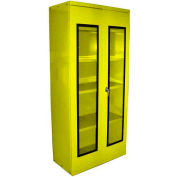 Equipto Quick View Cabinet 36 x 18 x 78, Unassembled - Textured Safety Yellow