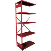 "Equipto Vg Open Shelf Add On Unit - 36"" W X 12"" D X 84"" H W/ 5 Shelves, Textured Cherry Red"