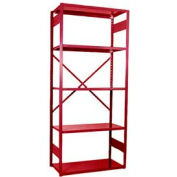 "Equipto Vg Open Shelf Starter Unit -36"" W X 12"" D X 84"" H W/ 5 Shelves, Textured Cherry Red"
