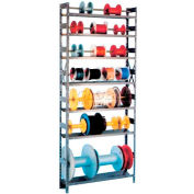"Equipto Wire Spool Rack Unit 8""D x 36""W x 84"" H- w/ 7 Shelves, Gray"