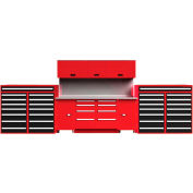 """EquiptoBay EBDWB120 Double Workbench System 240""""W x 30""""D x 81""""H - Red"""