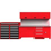 "EquiptoBay EBPSWB96 Premium Single Workbench System 156""W x 30""D x 81""H - Red"