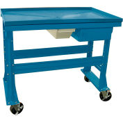 "Equipto Teardown Bench w/ Fluid Container & Drawer, 60""W x 30""D x 37""H, Blue"