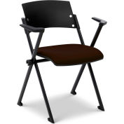 Ergocraft Xilla Nesting Chair with Arms Plastic Back Fabric Seat with Glides Coffee - Pkg Qty 4
