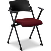 Ergocraft Xilla Nesting Chair with Arms Plastic Back Fabric Seat with Glides Mulberry Burgundy - Pkg Qty 4