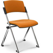 Ergocraft Xilla Nesting Armless Room Chair Fabric Seat/Back Chrome Frame with Glides Amber - Pkg Qty 4