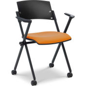Ergocraft Xilla Nesting Chair with Arms Fabric Seat/Back with Casters Amber - Pkg Qty 4