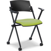 Ergocraft Xilla Nesting Chair with Arms Fabric Seat/Back with Casters Green Apple - Pkg Qty 4