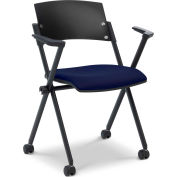 Ergocraft Xilla Nesting Chair with Arms Fabric Seat/Back with Casters Midnight Blue - Pkg Qty 4