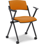 Ergocraft Xilla Nesting Chair with Arms Plastic Back Fabric Seat with Casters Amber - Pkg Qty 4