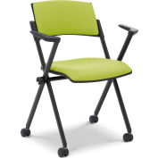 Ergocraft Xilla Nesting Chair with Arms Plastic Back Fabric Seat with Casters Green Apple - Pkg Qty 4